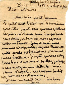 Photo d'un objet de la collection, lettre d'un prisonnier.